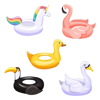 Set of various swimming inflatable ring.