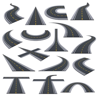 Set of various types of asphalted roads, track, highways, car roads with bends, ascents, turns.