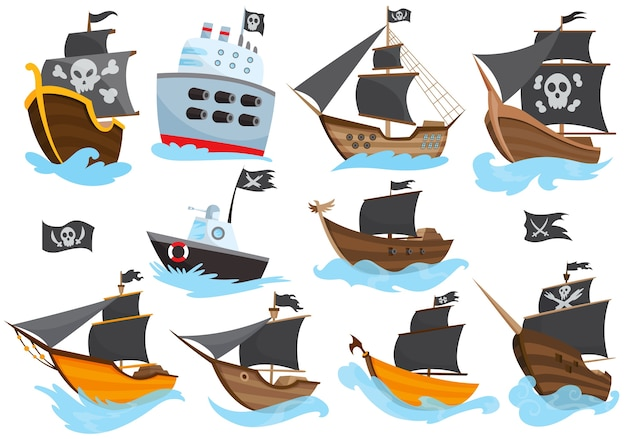 Set of various types stylized cartoon pirate ships illustration with black sails. galleons with image jolly roger. cute drawing. collection of pirate ships sailing on water.