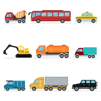Set of various urban transport. motor vehicles for passengers, industrial machinery and service cars