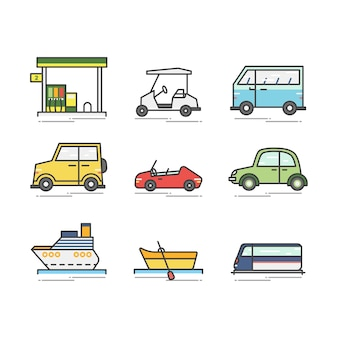 Set of various vehicles and boats