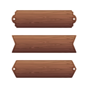 Set of various wooden banners