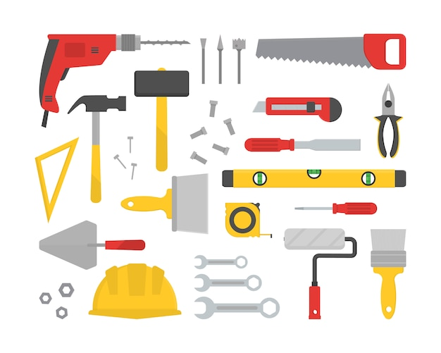 Set of various working tools