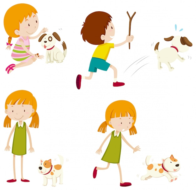 Set of various young children and dogs