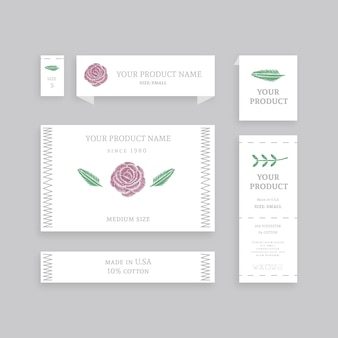 Set of various your product name paper etiquettes
