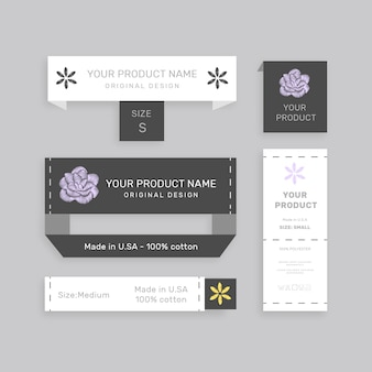 Set of various your product name paper tags