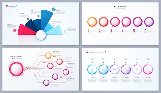 Set of vector 6 options infographic designs, templates for reports, visualizations