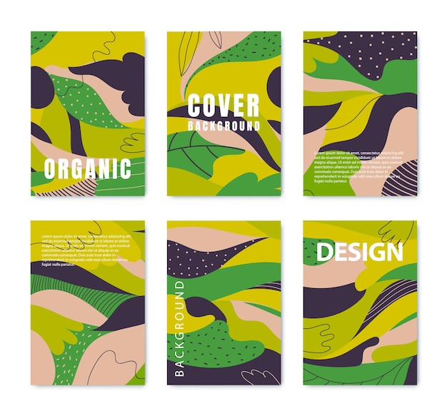 Set of vector absract posters, organic green covers with liquid shapes, leaves and geometric elements. use for prints, flyers, banners, design. eco concepts.