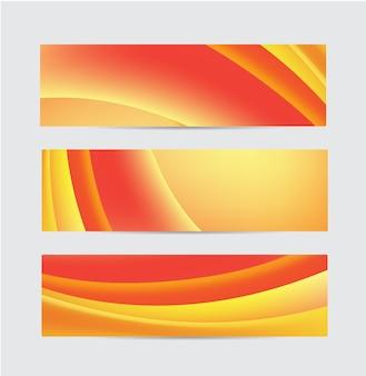 Set of vector abstract orange flow wavy banners