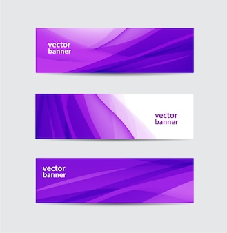 Set of vector abstract purple silk flow wavy banners