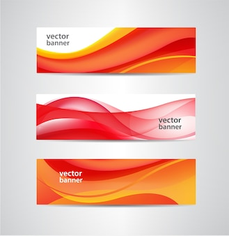 Set of vector abstract red flow wavy banners
