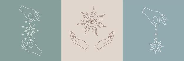 Set of vector alchemy esoteric mystical magic talisman