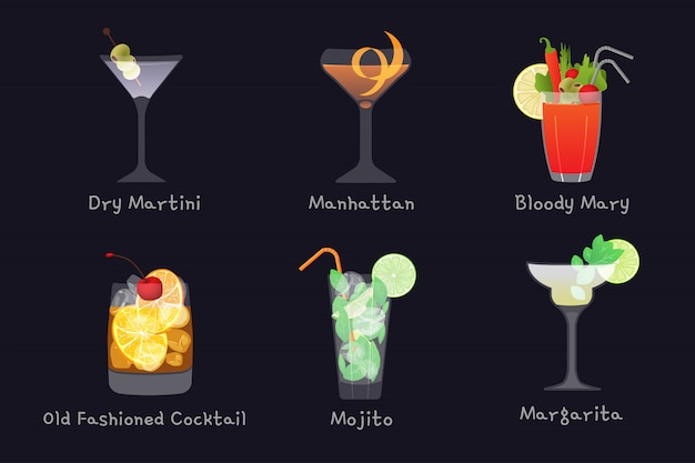 Set of vector alcohol bar drinks