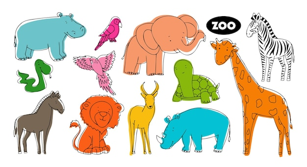 Set of vector animals in the style of doodle from the zoo. animals of bright colors of a gall, a giraffe, a turtle, a lion and other animals of africa.