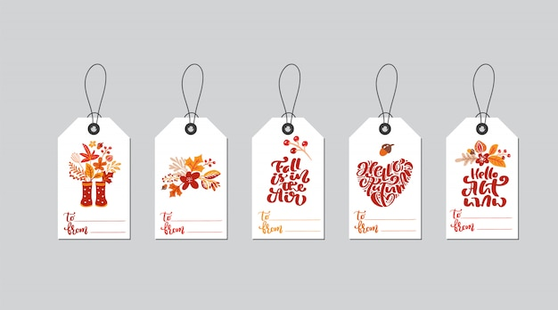 Set of vector autumn gift box tags with fall calligraphy.