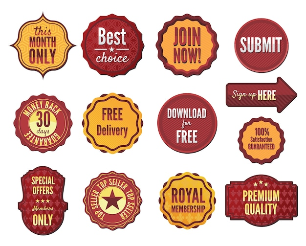 Set of vector badges and stickers