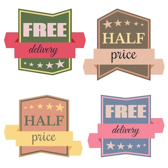 Set of vector badges with ribbons  and the words