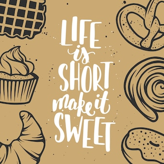 Set of vector bakery elements and lettering.