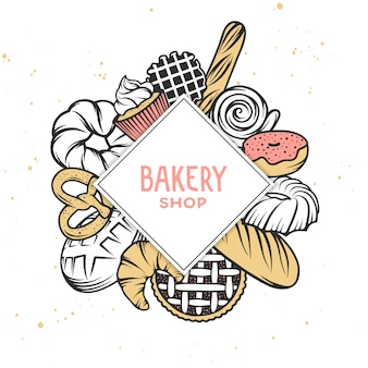 Set of vector bakery engraved elements.