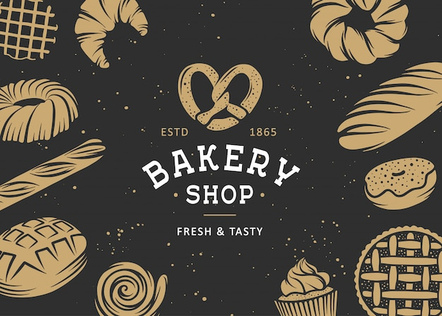 Set of vector bakery engraved elements