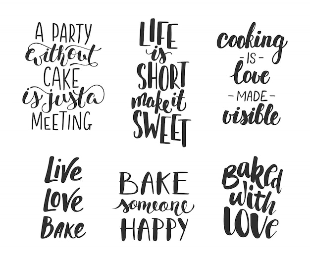 Set of vector bakery letterings for greeting cards