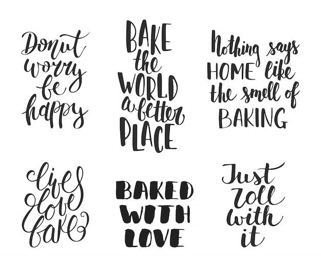 Set of vector bakery letterings