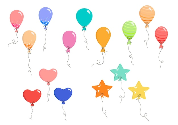 Set of vector balloons in flat style colorful balloons for invitations postcards
