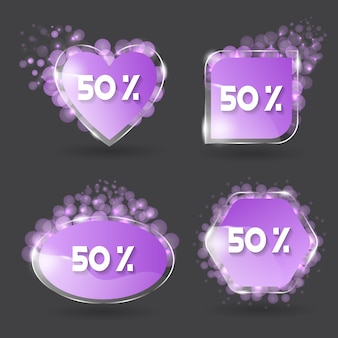 Set of vector banner glossy with color violet