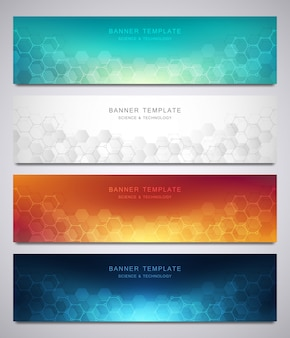 Set of vector banners and headers for site with medical background and hexagons pattern