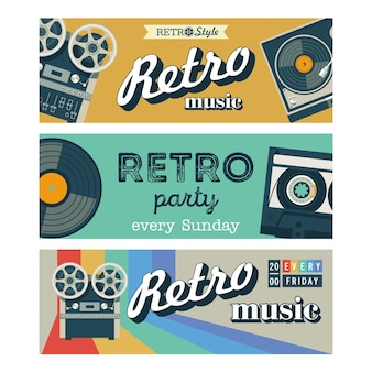 Set of vector banners. retro music, retro party.
