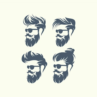 Set of vector bearded men faces hipsters with different haircuts, mustaches, beards.