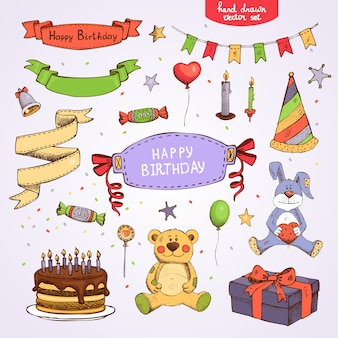 Set of vector birthday party elements: cake gift box teddy bear