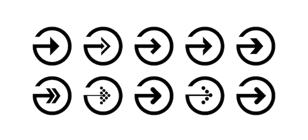 Set the vector for the black arrow icon in the shape of a circle