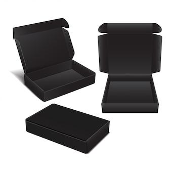 Set of vector black cardboard box.