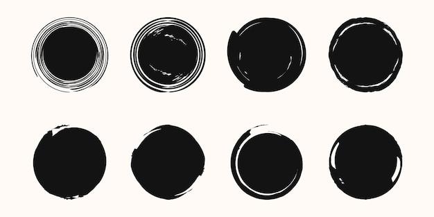 Set of vector black paint style texture.