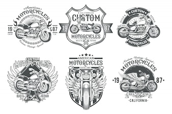 Set vector black vintage badges, emblems with a custom motorcycle