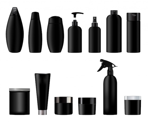 Set vector blank templates of empty and clean black plastic containers:  bottles with spray, cream jar, dispenser and dropper, tube.