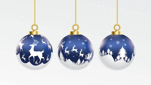 Set of vector blue and white christmas balls with ornaments