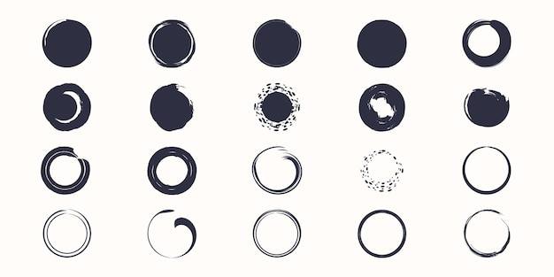 Set of vector brush strokes circles of paint on white background.