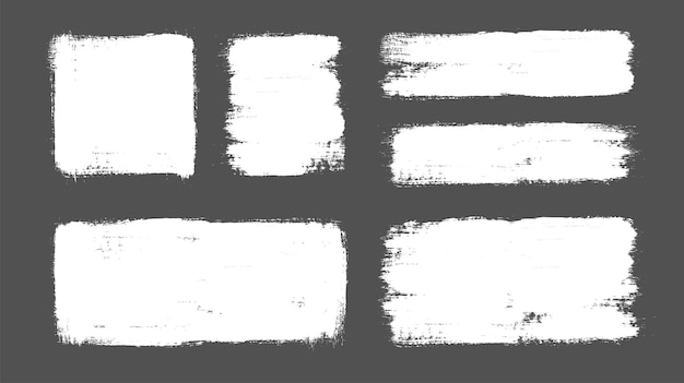 Set of vector brush strokes on isolated background. grunge design elements.