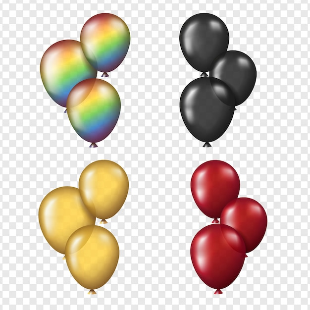 Set vector bunch balloons different colors on transparent background