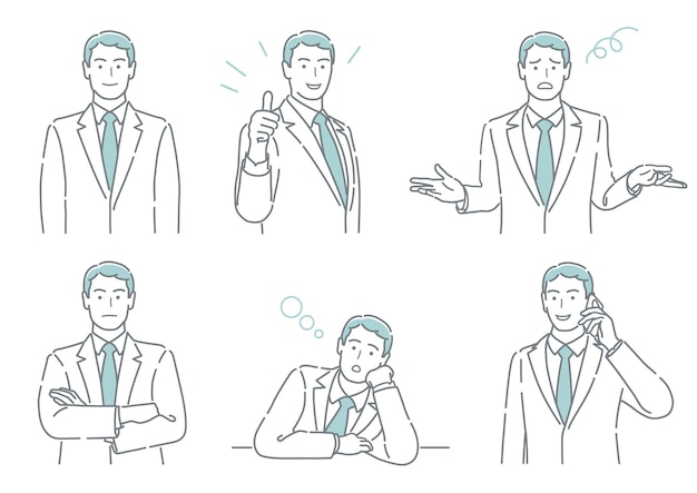 Set of vector businessperson with different poses expressing a variety of emotions