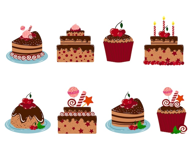 Set of vector cakes for birthday