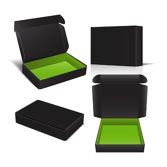 Set of vector cardboard box.