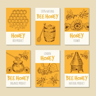 Set of vector cards for honey products. healthy food symbols