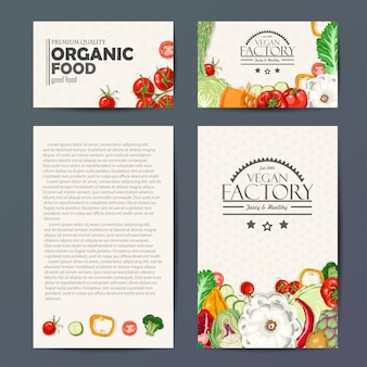 Set of vector cards with vegetables