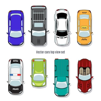 Set of vector cars top view. automobile convertible pickup and jeep, taxi and police