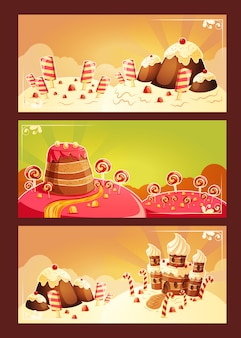 Set vector cartoon banners with a sweet landscape
