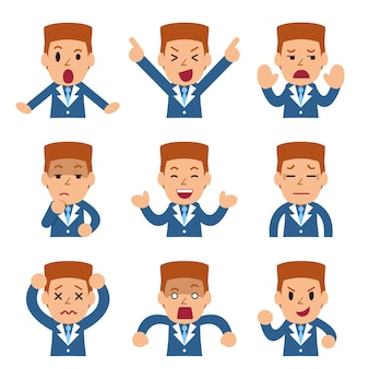 Set of vector cartoon businessman faces