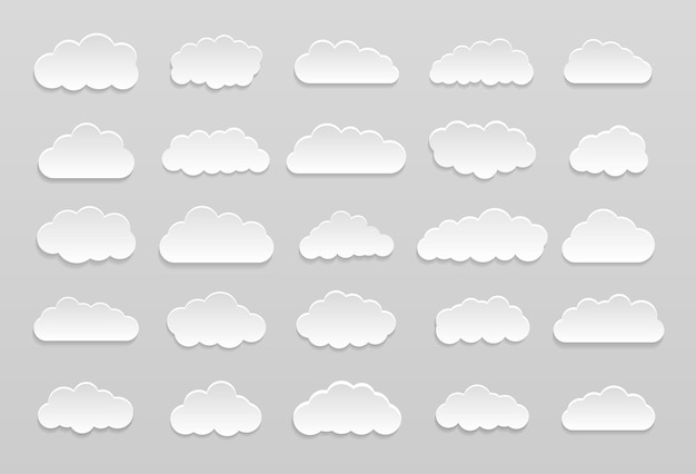 Set of vector cartoon clouds on a blue background. set of blue sky.